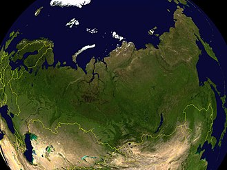 Outline of Russia - A satellite image of Russia