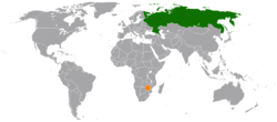 Map indicating locations of Russia and Zimbabwe