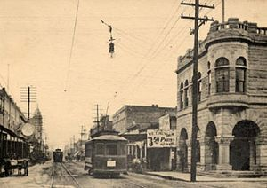 History of Lake Charles, Louisiana - A view of Ryan Street around the turn of the twentieth century, looking south.