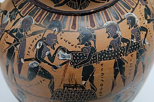 Polyxena - The sacrifice of Polyxena by the triumphant Greeks (Attic black-figure Tyrrhenian amphora, ca. 570-550 BC)