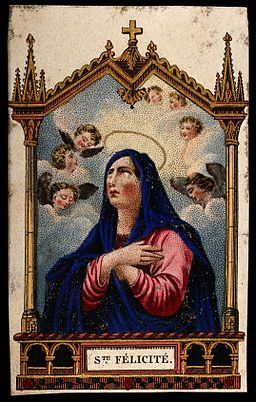 Saint Felicity. Colour engraving. Wellcome V0033296