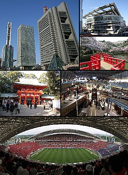 From top left: Saitama New Urban Center, Omiya Sonic City, Hikawa Shrine, Iwatsuki Castle Park, Saitama Stadium 2002