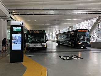 WestCAT - A WestCAT Lynx fixed route bus, alongside an AC Transit bus, at the Transbay Transit Center in San Francisco.