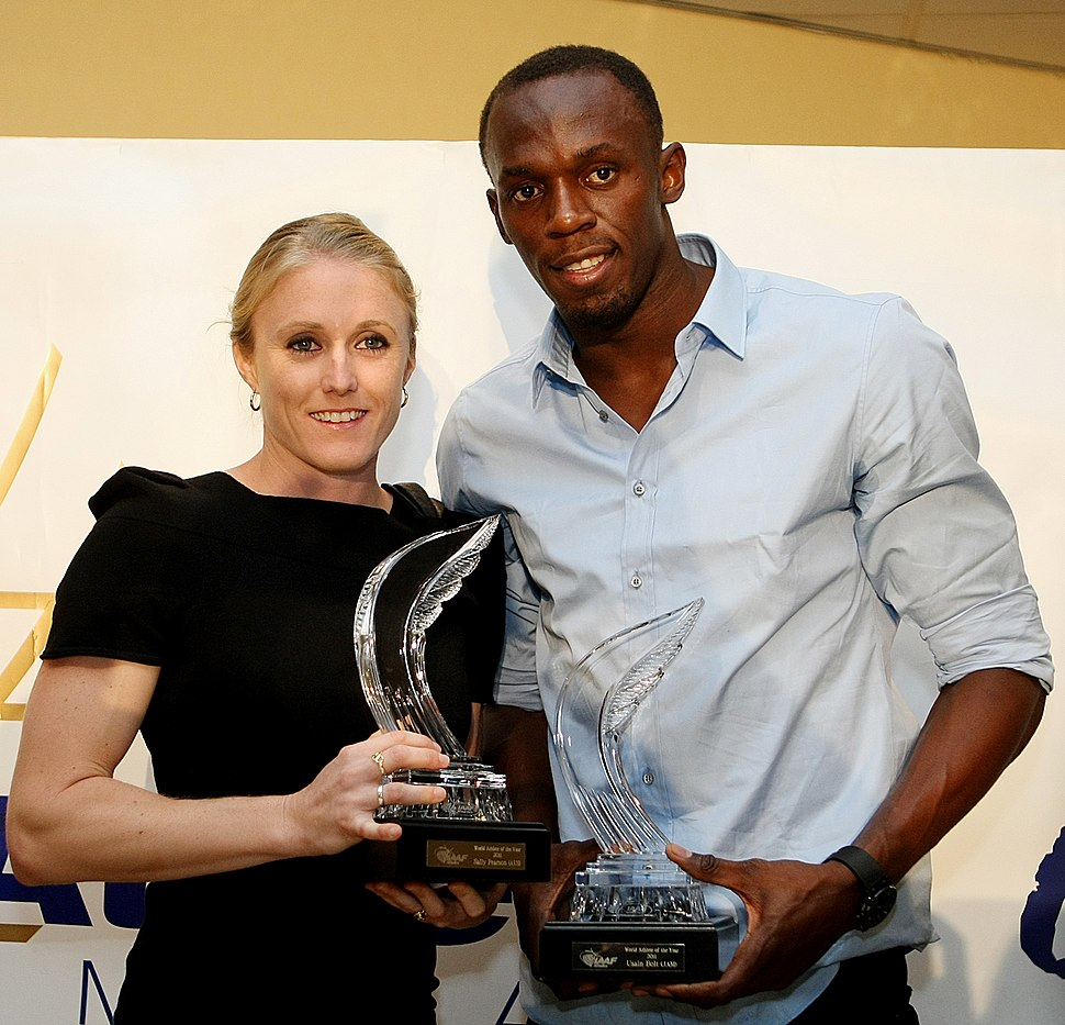 Sally Pearson, Usain Bolt 2011.jpg