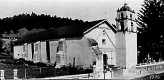 Mission San Buenaventura - Mission San Buenaventura circa 1900. Note the thickness of the chapel side wall and the massive buttresses supporting it.