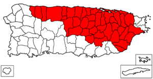 San Juan–Caguas–Guaynabo metropolitan area - Map of Puerto Rico highlighting the San Juan-Caguas-Guaynabo Metropolitan Statistical Area