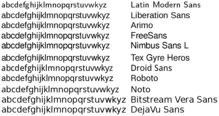 Screenshot of type set in several different free (libre) sans-serif typefaces: Latin Modern Sans, Liberation Sans, Arimo, FreeSans, Nimbus Sans L, Tex Gyre Heros, Droid Sans, Roboto, Noto, Bitstream Vera Sans, and DejaVu Sans.