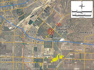 Santa Clara Avenue Oil Field - Detail of the area around the Santa Clara Avenue field, showing its location relative to Ventura, Oxnard, and Camarillo. Yellow dots represent locations of active oil wells as of 2008.