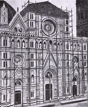 Emilio De Fabris - An image of the façade of the Santa Maria del Fiore in Florence