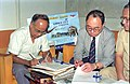 Saroj Ghose And Goto Executive Signing MOU Of Goto GSS-Helios And Astrovision-70 Projection System For Science City - NCSM - Calcutta 1995-06-15 243.JPG