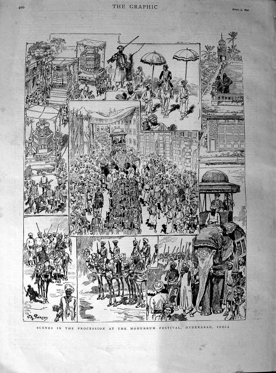 Scenes in the procession at the Mohurrum festival