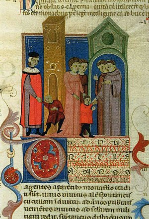 Monastic school - Boys going to school. Bolognese manuscript of the Decretum Gratiani, 14th century