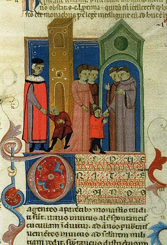 Monastic school - Boys going to school. Bolognese manuscript of the Decretum Gratiani, 14th century