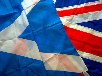 The Saltire and Union Flag, representing Scotl...