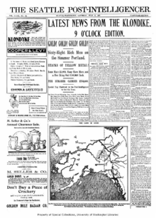 Seattle Newspaper Announcing The First Arrival Of Gold From Klon July 17 1897
