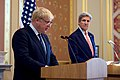 Secretary Kerry Listens to British Foreign Secretary Johnson During a Joint News Conference in London (28335625221).jpg