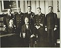 Secretary of Navy Josephus Daniels (center) seated with Admiral (Trevylyan) Napier, R.N.; standing left to right- Capt. Blake of Naval Attache British Embassy, Admiral Long of U.S.N., Lt. LCCN2010651700.jpg