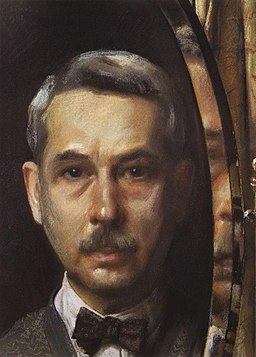 Self-portrait in mirror by K.Somov (1928)