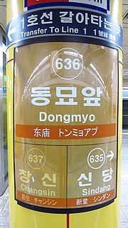 Dongmyo station train station in South Korea