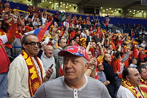 Macedonia national handball team - Image: Serbian and Macedonian fans