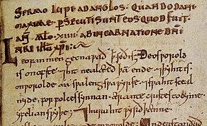 Wulfstan (died 1023) - A page from a Wulfstan manuscript at the British Library (MS Cott., Nero A.i): Sermo Lupi ad Anglos quando Dani maxime persecuti sunt eos quod fuit anno millesimo XIIII ab incarnatione Domini nostri Jesus Christi