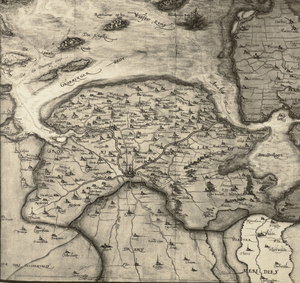 Monnikenlangenoog - 16th-century map of Groningen with the islands of Bosch and Rottumeroog at the location of Monnikenlangenoog