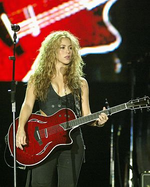 Shakira at the Rock in Rio concert in 2008.