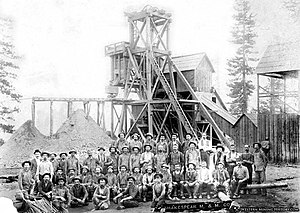 Shakespeare Mining & Milling Co, headframe and miners, ca. 1860