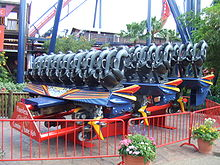 One of SheiKra's floorless train on display