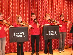 Scottish fiddling - Shetland teenage fiddlers in Lerwick, 2004