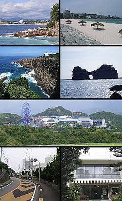 Top left: Nanki Shirahama Spa, Top right: Shirahama Beach, 2nd left: Three-stage Wall (Sandanheki), 2nd right: Engetsu Island (Engetsuto), 3rd: Shirahama Adventure World, Bottom left: Tsubaki Spa, Bottom right: Minakata Kumagusu Memorial Museum