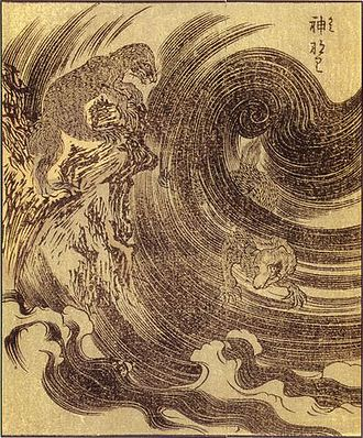 Monkeys in Japanese culture - Raijū lightning spirit, Ehon Hyaku Monogatari, 1841.