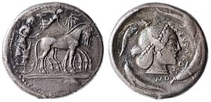 Syracuse, Sicily - A Tetradrachm from Syracuse, circa  485-479 BC, with Arethusa on the obverse, and a slow quadriga driven by a male charioteer on the obverse.