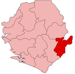 Location of Kailahun District in Sierra Leone