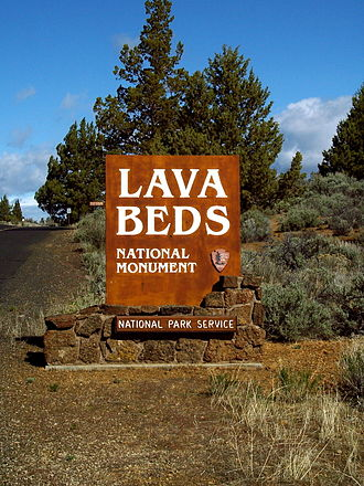 Lava Beds National Monument - Sign at the southeastern entrance