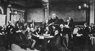 Law of war - The signing of the First Geneva Convention by some of the major European powers in 1864.