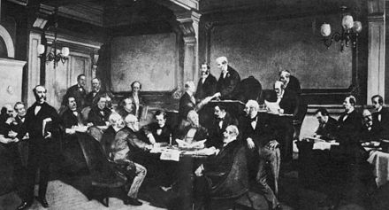 The signing of the First Geneva Convention by some of the major European powers in 1864. Signing of the first geneva convention.jpg