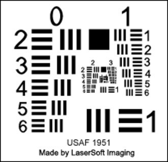 Optical resolution - SilverFast Resolution Target USAF 1951 for determining a scanner's optimum resolution