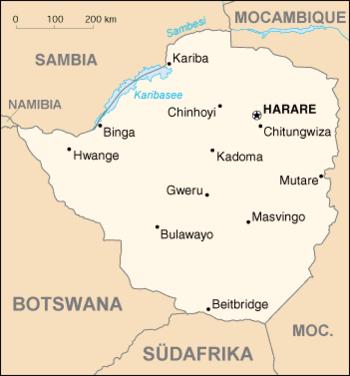 Deutsch: Karte von Simbabwe