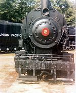 Photograph of Simons Wrecking Company Locomotive No. 2 on Static display at Steamtown, USA, Bellows Falls, Vermont, c. 1974