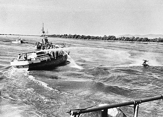 A Soviet ship using a water cannon against a Chinese fisherman on the Ussuri River on 6 May 1969 Sino-Soviet border conflict May 1969.jpg