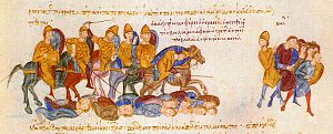 Battle of Spercheios - Image: Skylitzes Ouranos kills Bulgarians