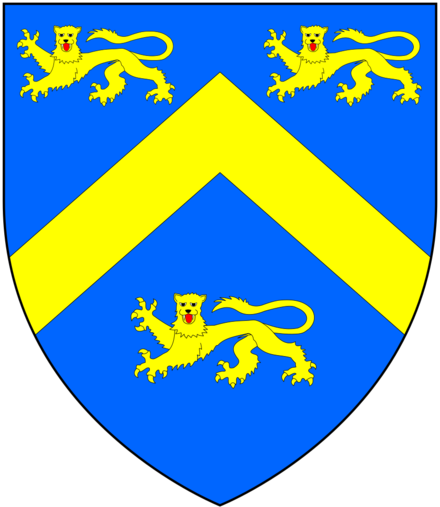 Arms of Smythe of the City of London: Azure, a chevron between three lions passant guardant or. As seen on mural monument to his daughter Katherine Smythe in St Mary's Church, Nettlestead, Kent Smith OfCityOfLondon Arms.png