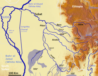 river in South Sudan and Ethiopia