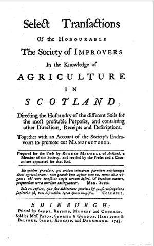 Scottish Agricultural Revolution - Frontispiece from Transactions of the Society of Improvers (1743)