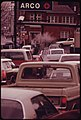 Solid Lines of Cars Such as This Scene in Portland, Resulted in a First-Come, First-Served Limit of Five Gallons Per Customer Shortly Thereafter Oregon Went to a System of Dispensing Gas According to License Numbers 12-1973 (4272497906).jpg
