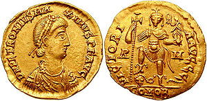 Petronius Maximus - Solidus of Emperor Petronius Maximus.