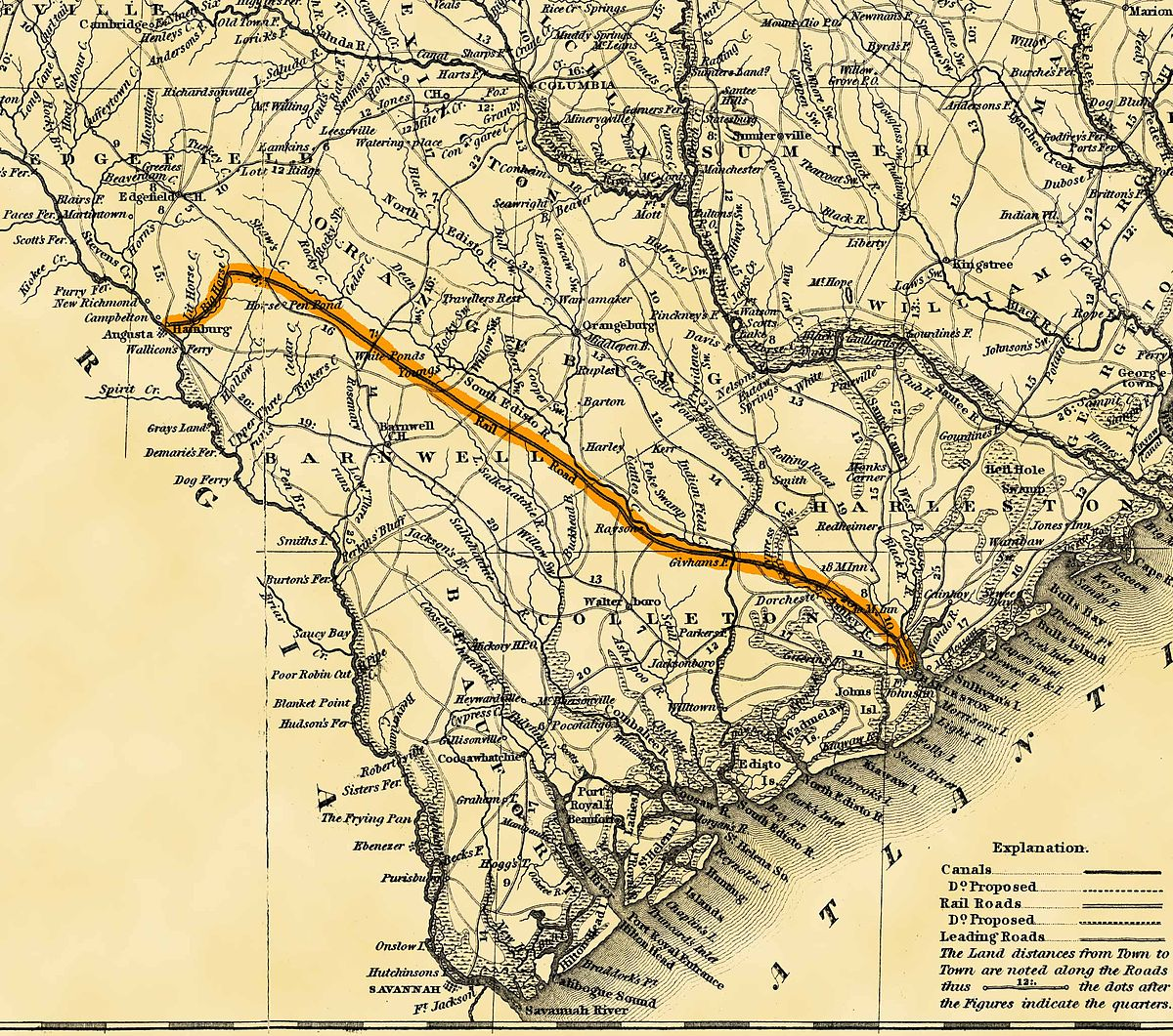 South Carolina Canal And Railroad Company Wikipedia - Road map of north and south carolina