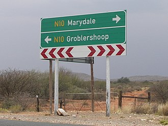 Road signs in South Africa - A directional signboard in the Northern Cape, South Africa
