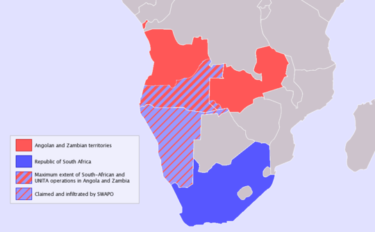Maximum extent of South African and UNITA operations in Angola and Zambia South Africa Border War Map.png